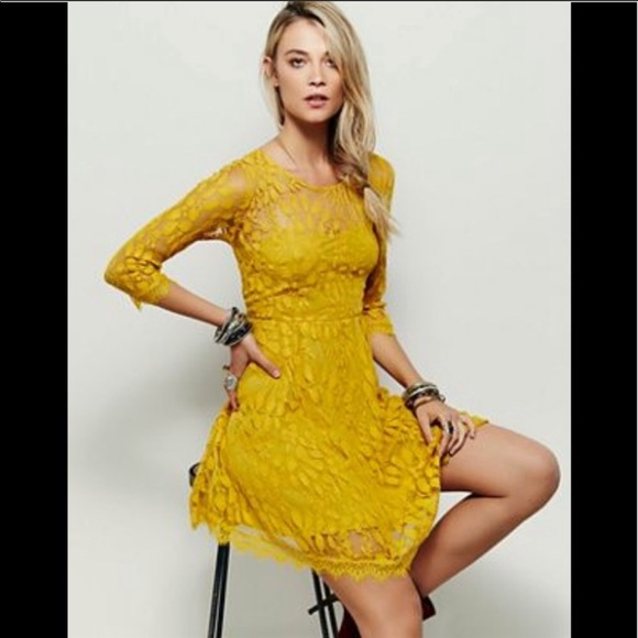 Free People Dresses & Skirts - Free People Floral Mesh Mustard Dress